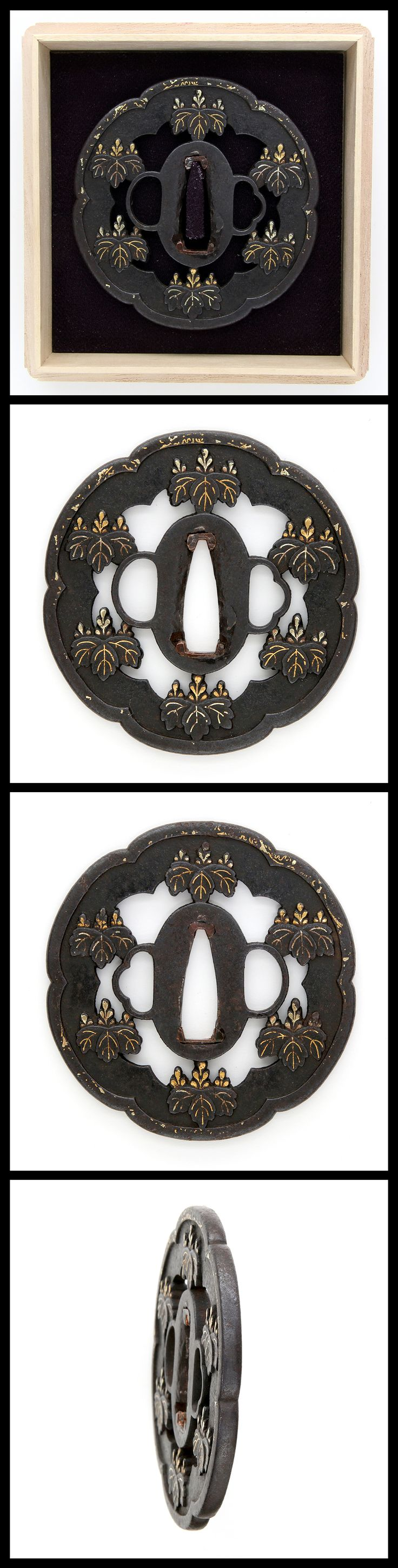 Edo hollyhock crests carved engraved with gold color on kawari style iron tsuba