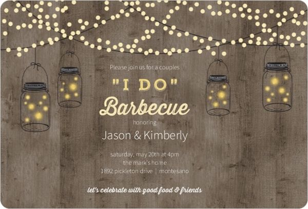 Mason Jar Party Lights Couples Shower Invitations by WeddingPaperie.com.