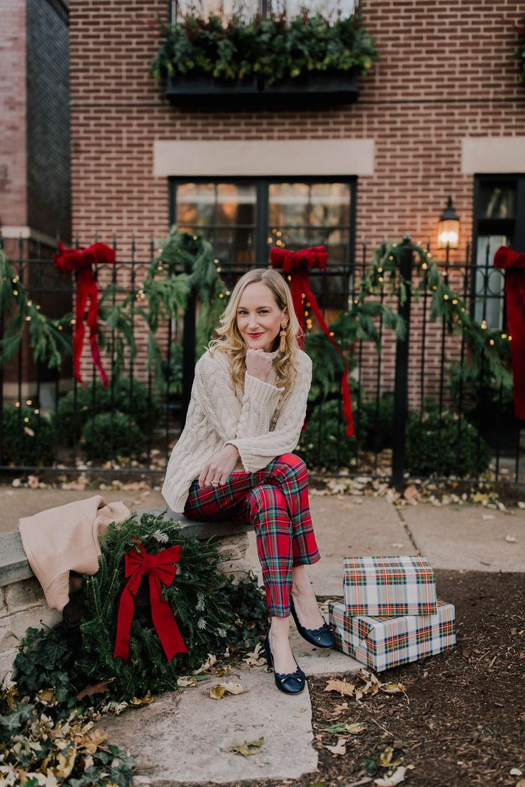 """Vineyard Vines Tartan Pants (Use code """"HOLIDAY17"""" to take 25 percent off everything at Vineyard Vines and get free shipping. Have you seen the rest of the Jolly Plaid collection?! LOVE the skirt! I'm wearing a size 0 in the pants, btw, which is what I normally wear in jeans/pants.) / Popcorn Sweater (Use code """"GONUTS"""" to take up to 30 percent off."""