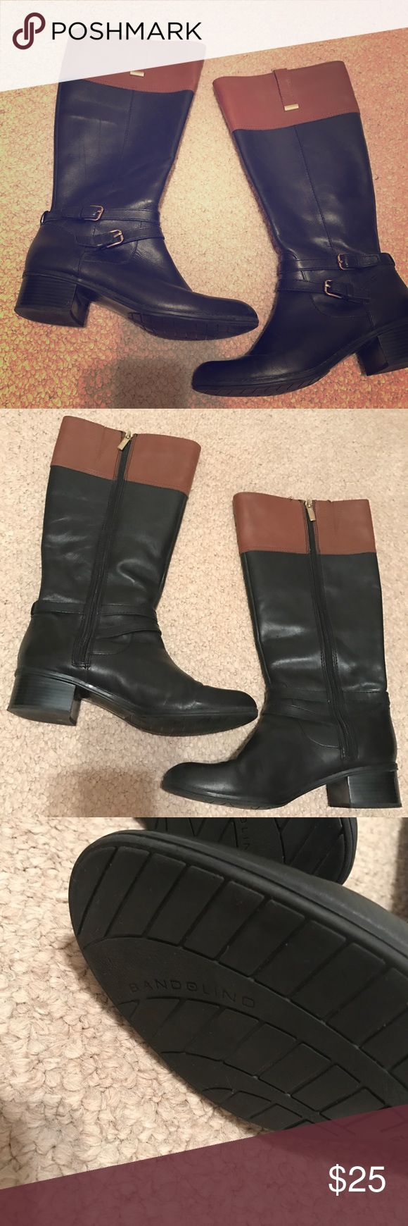 Bandolino two toned tall boots These were a pair of my favorites! The two tone is super classy and you can wear with a lot of outfits. Looks great with jeans or leggings. Slight wear but nothing so significant to take a picture of! Probably wore like 10 times Bandolino Shoes