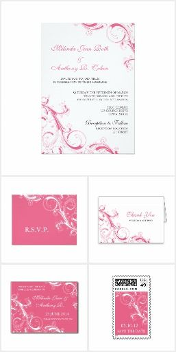 Filigree Swirl Pink Wedding Invitation Suite Collection | RSVP, Save the Date, Thank You, envelopes and stickers | pink, fushcia, magenta