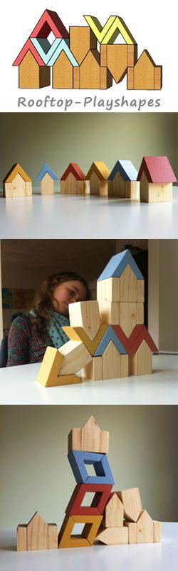 Elke set Puntdak speelblokken bestaat uit 6 huisjes (3 smalle en 3 brede) en 6 puntdaken (2 oud roze, 2 blauw en 2 geel). Met deze blokken kunnen kinderen vanaf 3 jaar unieke samenstellingen bouwen of een landschap creëren.  Afmetingen (compleet huisje):  B 7,5 x H 10 x D 5,75 cm  www.stoerrr.nl / www.stoerrr.com
