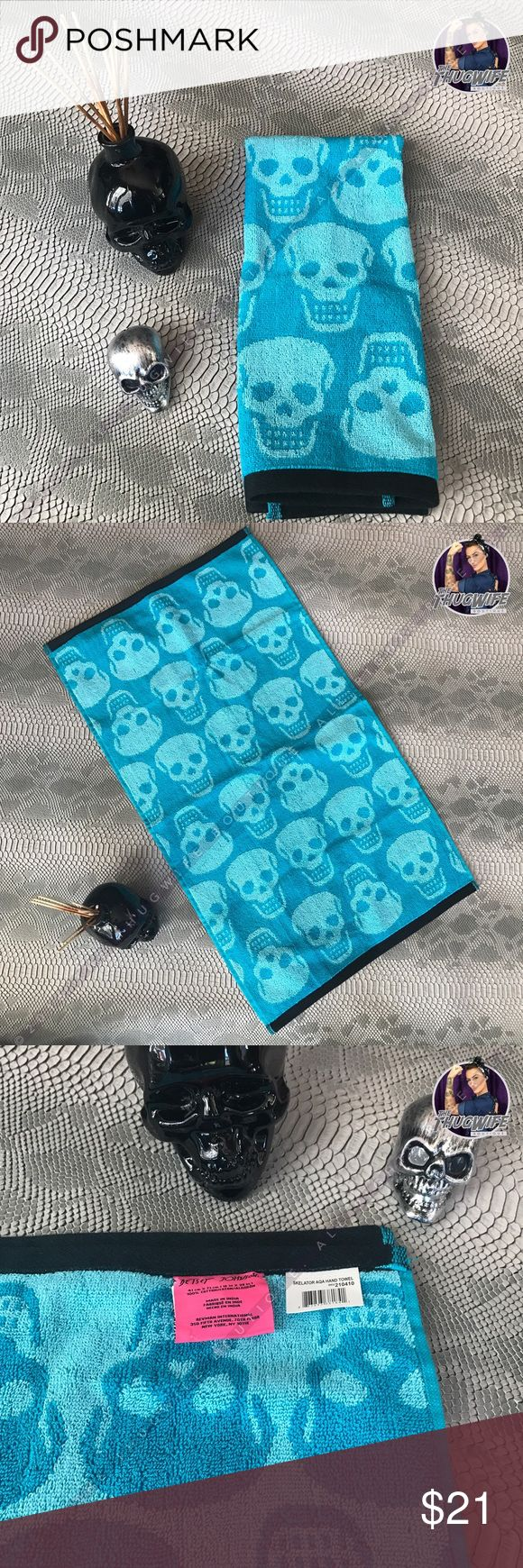Skull skeleton bathroom bundle One oil diffuser black glass skull + one Betsey Johnson bright Teal blue hand towel . Perfect for an edgy skull touch to the room ! Betsey Johnson Other
