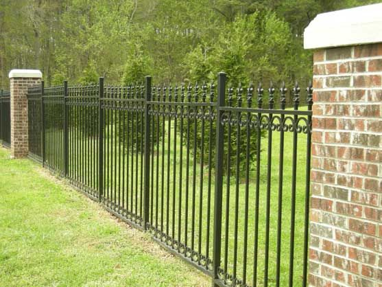 45 best images about wrought iron fencing on pinterest for Brick and wrought iron fence designs