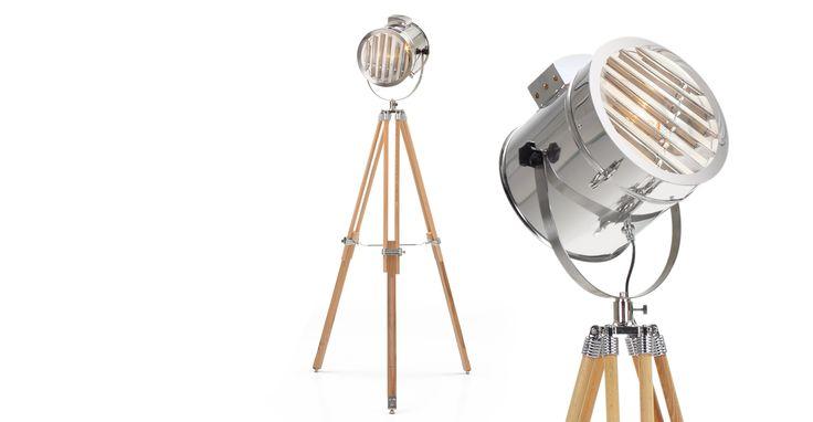 Alfred Tripod Floor Lamp, Natural Wood
