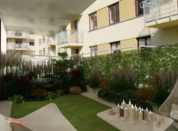 Mały ogródek przy mieszkaniu - koncepcja I - Bernadetta Ciochoń - e-aranżacje.pl