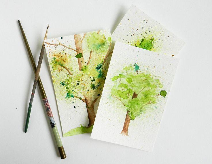 Spritzer Aquarell Baum Tutorial