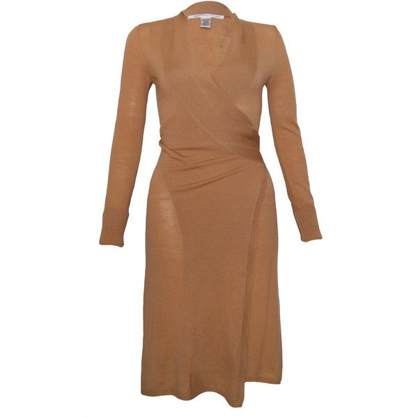 Pre-owned Diane Von Furstenberg Wrap Dress ($130) ❤ liked on Polyvore featuring dresses, brown, wool wrap dress, stretchy dresses, diane von furstenberg dresses, stretch dress and preowned dresses