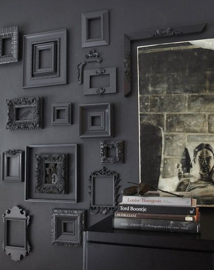 picture frames...diy. How cool. You could do this with any color. Just paint the wall & frames the same. How cool if u put black & white photos in these black frames on black walls. A conversation piece for sure. ds.