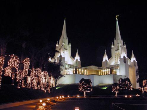 San Diego California Temple in spectacular Christmas lights, USA