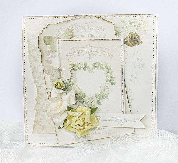A beautiful wedding card by Minna using the Vintage Wedding collection