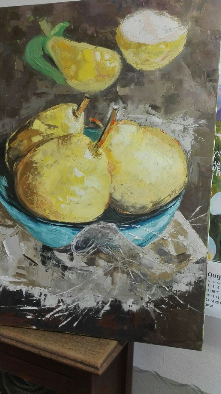 Pears in a bowl with hessian table cloth. Jemima's oil painting.