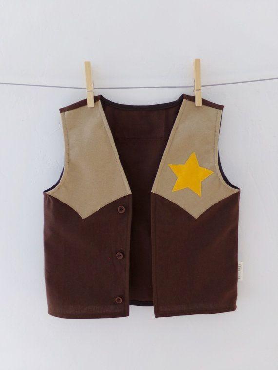 Kids Cowboy Vest Dress up Handmade 100% Cotton Sheriff