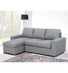 Canapé d'angle convertible, méridienne réversible, tissu coloris gris