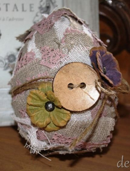 Egg in natural style with fabric