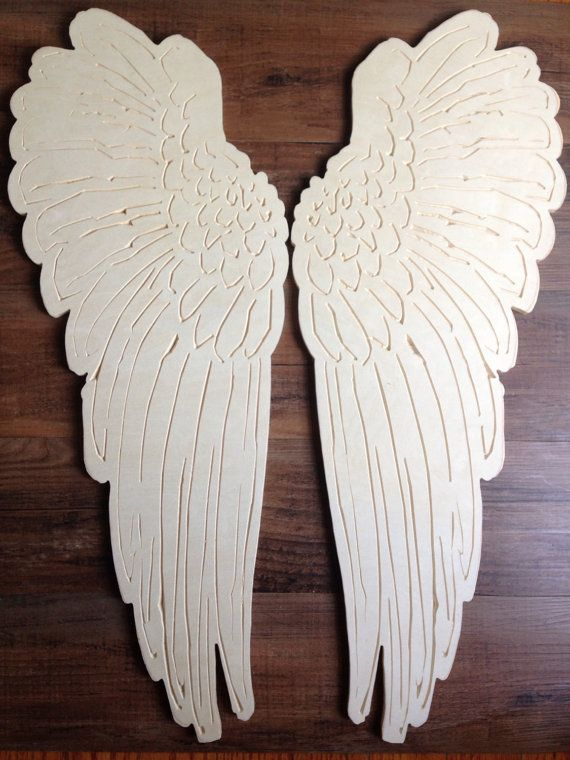 **********************CAN NOW BE ORDERED UNFINISHED AS WELL******************   This set I have painted a creamy color then stained with dark walnut and slightly brushed with metallic gold paint. These would be the perfect addition to any wedding or nursery What little girl wouldnt want angel wings gracing her walls! If choosing the. These sizes are aprox  6 size You will receive two angel wings and each measure approx 6x2.25 10 size You will receive two angel wings and each measure approx…