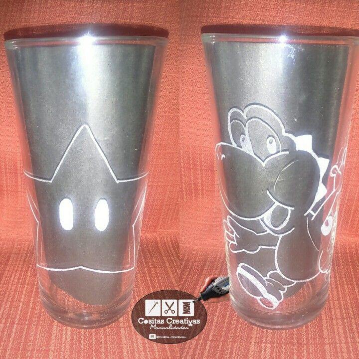 Tallado en vidrio Star y Yoshi de Marios Bros