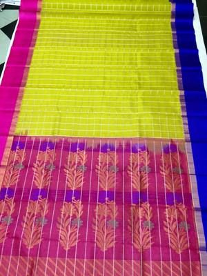 Pink & Yellow Exclusive Handwoven Pure Silk Saree With Blue Border Silk Sarees on Shimply.com