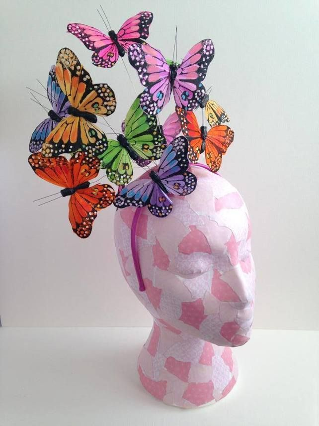 Multi Coloured Feather Butterfly Fascinator