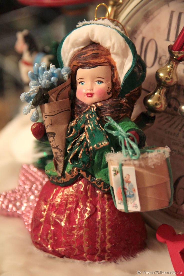 Нашла дом. Девочка в капоре с букетом и коробкой. Ватная игрушка – купить или заказать в интернет-магазине на Ярмарке Мастеров | В ватной игрушке есть своя особенность, она нас…