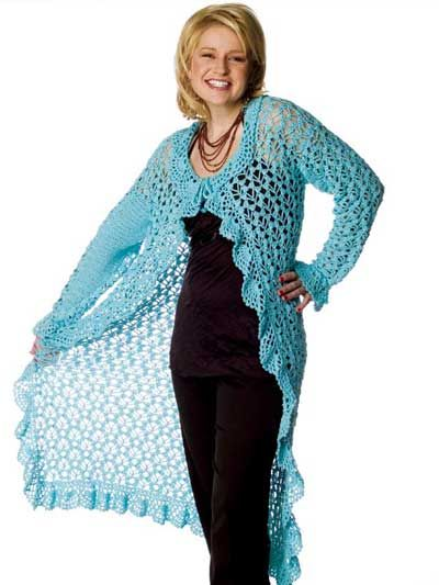 Breezy Duster free long sweater crochet pattern download