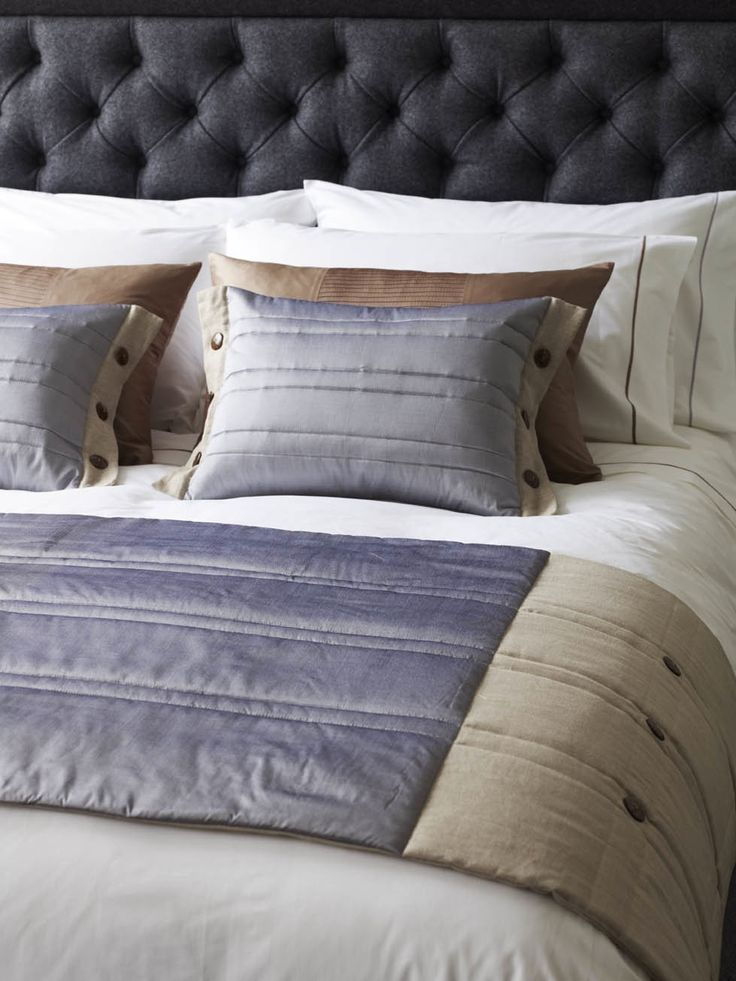Coco Button - bed runner and matching cushions in silver grey Thai silk with linen. Exclusively at www.padukltd.com
