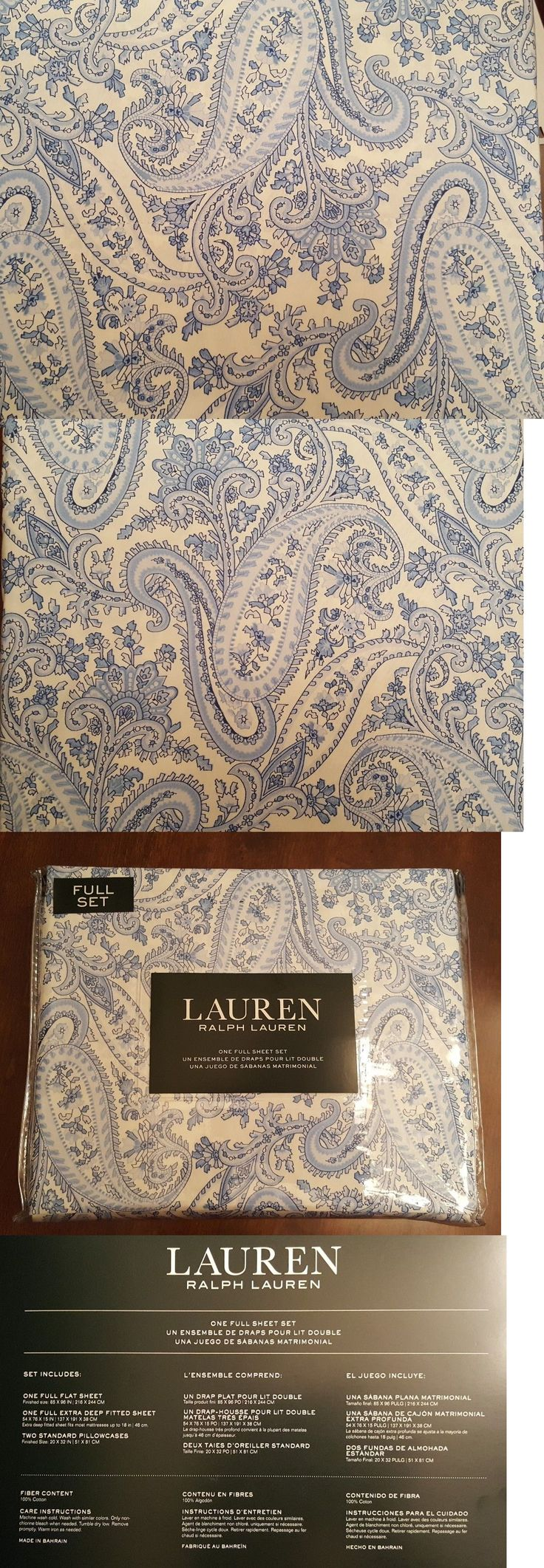 Sheets and Pillowcases 20460: Ralph Lauren - 4Pc Sheet Set - White W Blue Paisley - 100% Cotton -> BUY IT NOW ONLY: $69.99 on eBay!