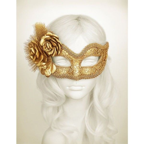 metallic gold masquerade mask with fabric roses lace covered venetian liked on masquerade halloween costumesmasquerade - Halloween Costumes With A Masquerade Mask