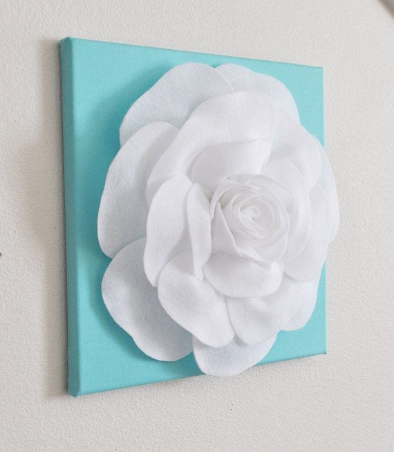 """Rose Wall Hanging- White Rose on Tiffany Blue Solid 12 x12"""" Canvas Wall Art- 3D Felt Flower on Etsy, $34.00"""