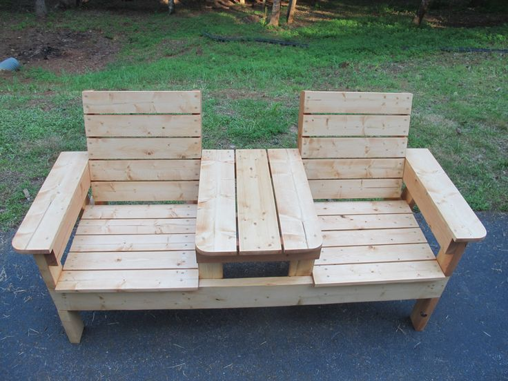 Two Seat Bench with Table by NGFoothillsFurniture on Etsy