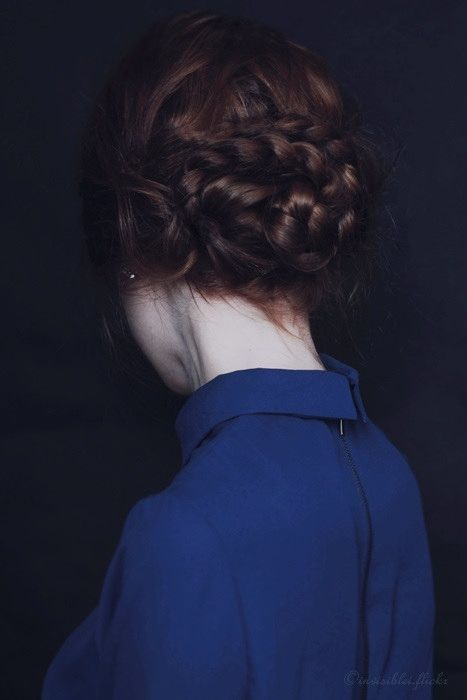 Braid bun - so pretty! I think that old-fashioned hairstyles like this are prettier than modern ones. Just my opinion. :)