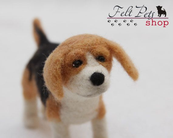 Beagle dog miniature needle-felted miniature by FeltPetsShop on Etsy