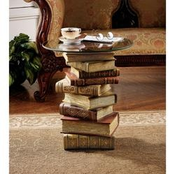 Another stack of books - diy?Coffe Tables, Glasses Tops, Ideas, Book Tables, Side Tables, Book Sculpture, End Tables, Accent Tables, Design Toscano