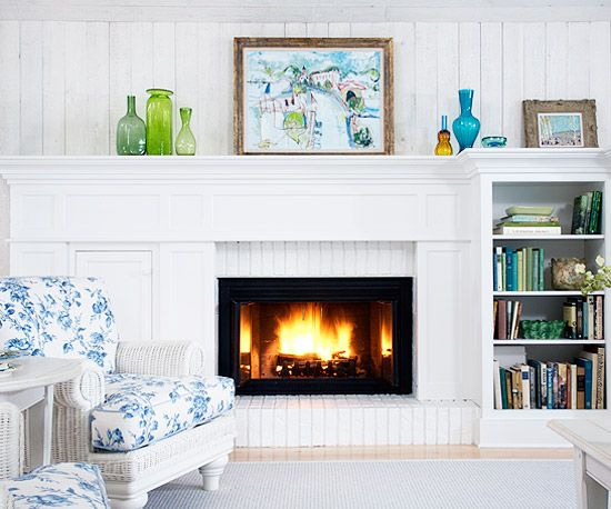 Painted Brick Fireplace With Additional Mantel Shelves