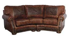 Leather Ranch Curved Sofa 553003 Western Sofas and Loveseats