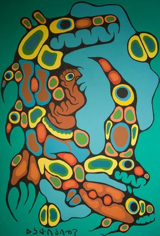 norval morrisseau paintings | Norval Morrisseau-Moon River Shaman. Original Paintings (Painting)