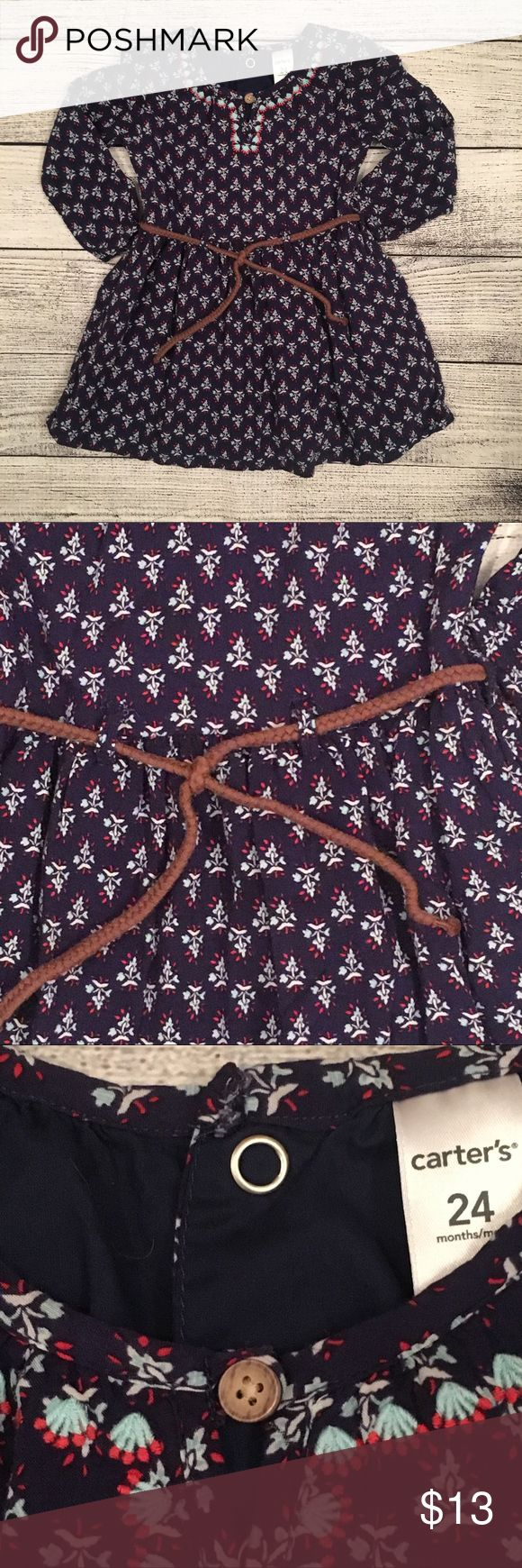 Carter's dress Navy lined dress with floral detail. Adorable removable rope belt. Size 24 months Carter's Dresses