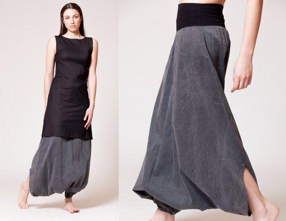 Black Cotton Womens Harem Pants Stone Wash Royal by MichalRomem, $110.00