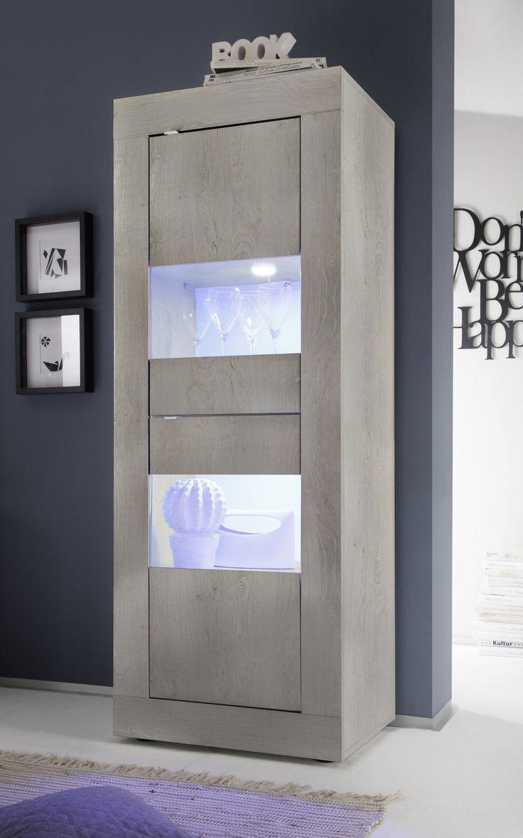 Kolomkast Basic Grey bestaande uit twee deuren uitgevoerd in de kleur Grijs eiken voorzien van energiezuinige LED verlichting