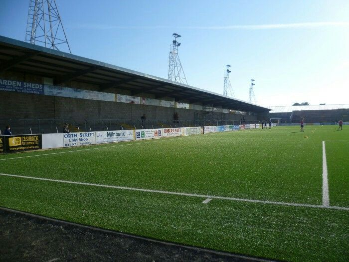 Station Park, Forfar: Home of Forfar Athletic FC. (2014) Photograph: David Stoker