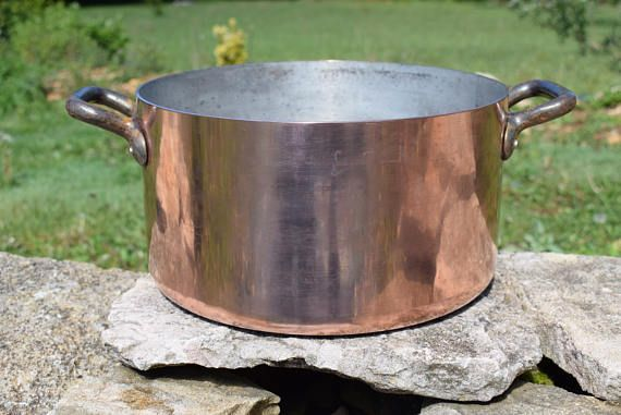 French Vintage Large and Heavy Copper Pot - Chef 3mm Thick Stew Pot  Marmite Pan  - French Rustic Kitchen - French Copper Stockpot