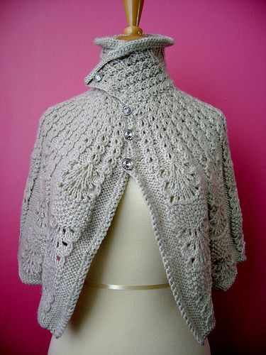 Knitted capelet / cape / poncho in a shade of light linen1 by VitalTemptation , Etsy, via Flickr