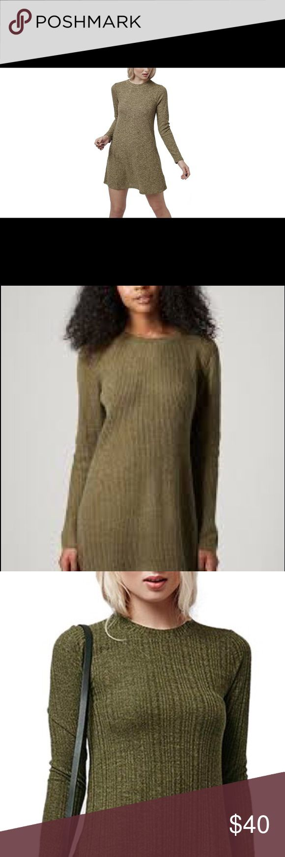 TOPSHOP ribbed olive green long sleeve tunic dress Tunic dress- olive green. So comfortable, playful! Worn as dress or with leggings - soft ribbed round neck, long sleeve, 70% Acrylic, 16% Nylon, 14% Angora. Machine washable. Topshop Dresses Mini