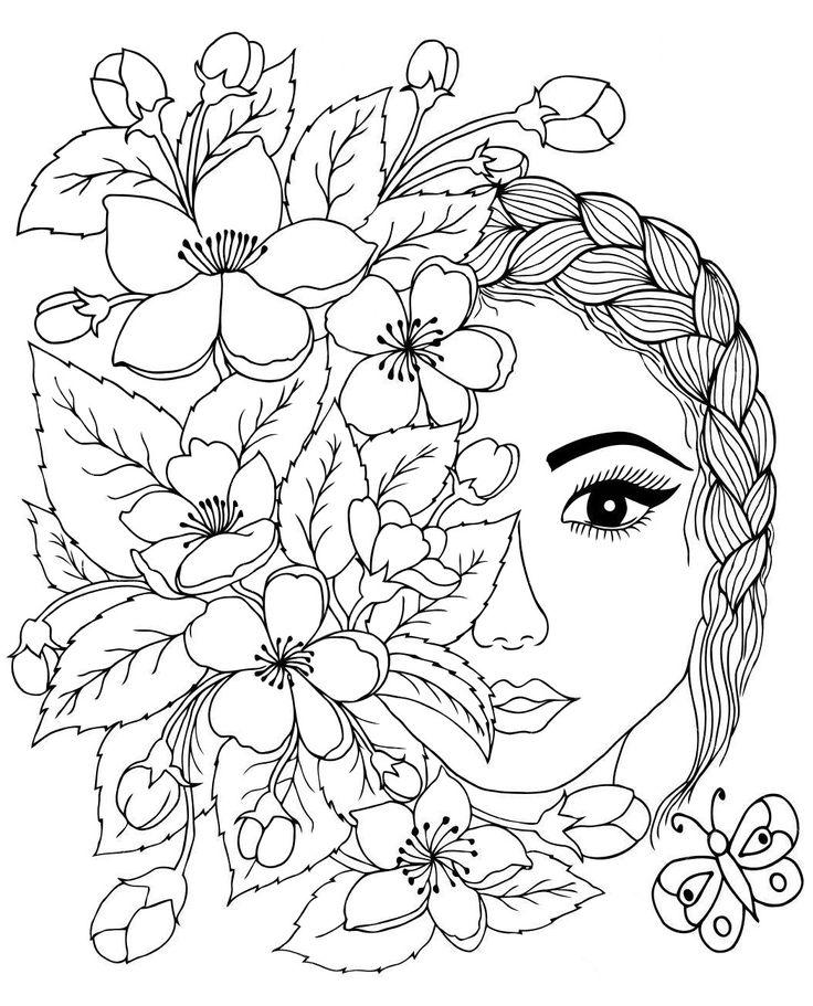 Арт терапия лицо с цветами   Раскраски, Книжка-раскраска ...
