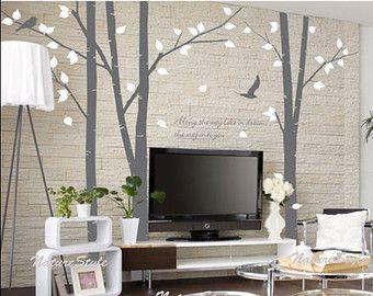Albero con volano uccelli e cervi-parete di NatureStyle su Etsy
