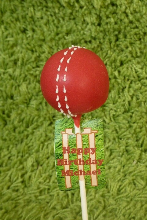 Cricket ball cake pops! Great idea for a cricket fanatic!