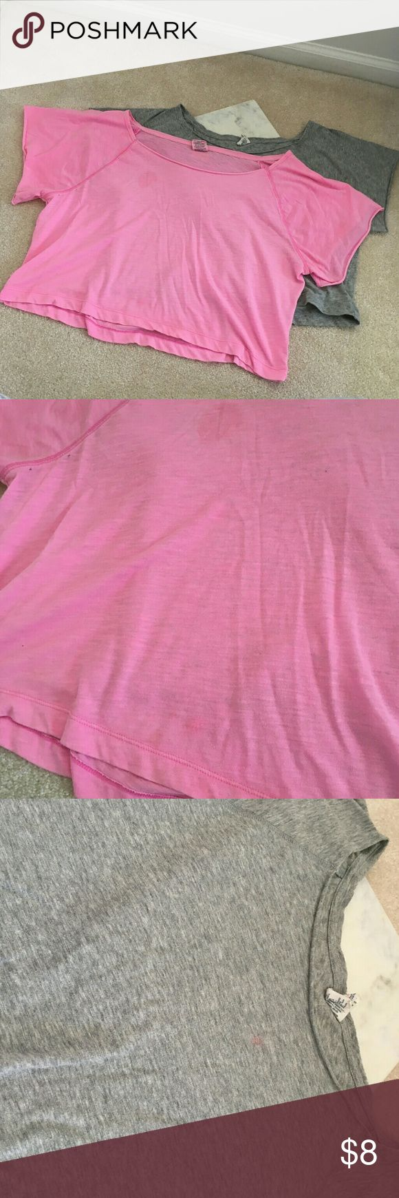 victorias secret pink womens m/l bundle off should both have stains.  the pink is a large grey is a medium off the shoulder 80s look cropped PINK Victoria's Secret Tops Tees - Short Sleeve