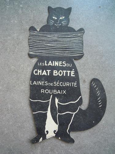 Ancienne publicité carton LAINES DU CHAT BOTTE ROUBAIX NORD 59 mercerie tricot