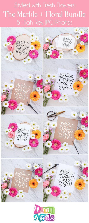 Marble + Floral Styled Photo Bundle – Dawn Nicole Designs