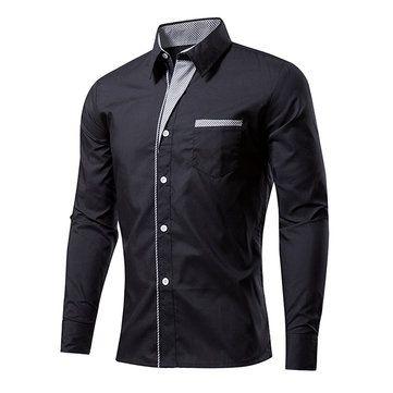 Casual Business Stripe Decoration Long Sleeve Solid Color Slim Dress Shirt for Men